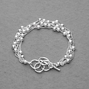 Amazing Silver Plated Six Chain And Beads Women's Bracelet