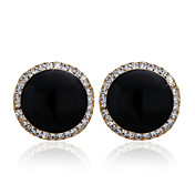 18K Gold Plated Fabulous Black Onyx &Crystal Fashion Earrings