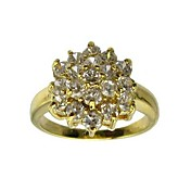 Big Flower Cubic Zirconia Party Ring