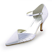 Satin Stiletto Heel Pointy Toe Pumps With Ruffles Wedding Shoes (More Colors)
