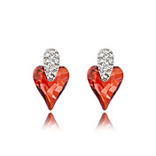 Delicate Platinum Plated Crystal Heart Cut Stud Earrings(More Colors)