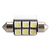 CANBUS Festoon 36mm 1W 6x5050 SMD White LED Car Signal Light
