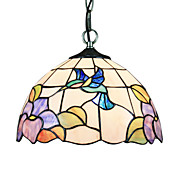 60W Tiffany Pendent Light in Blue Hummingbird Pattern