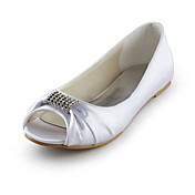 satin flad hl peep toe med rhinestone bryllup / fest sko (flere farver)