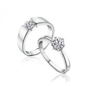 Charming Sterling Silver Cubic Zirconia Couple's Rings