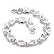 Fashion Silver Plated Hearts Women's Bracelet