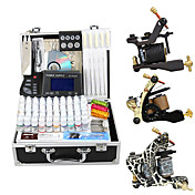 3 Cast Iron Tattoo Gun Kit for Lining and Shading with Aluminum Carrying Case
