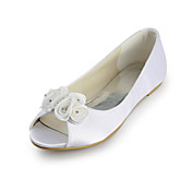 Satin Flat Heel Peep Toe With Satin Flower Wedding / Party Shoes (More Colors)