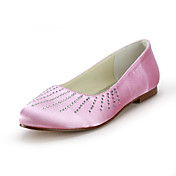 Satin Flat Heel Closed Toe With Rhinestone Wedding Party Women's Shoes