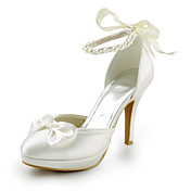 Satin Pfennigabsatz geschlossen Zehen mit Perle Hochzeit / Party Schuhe (weitere Farben)