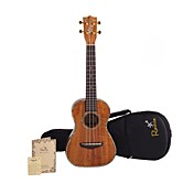 Rainie - (T-50) Professional-Grade Solid Acacia Koa Tenor Ukulele with Gig Bag/Tuner (Pearl Binding)
