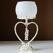 Silver Plated Dangling Crystal Love Candle Holder