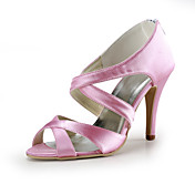 Satin Stiletto Heel Sandals Hollow-out Wedding Party Women's Shoes