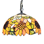 60W 1 - Light Tiffany Glass Pendent Light with Sunflower Pattern