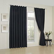 (Two Panels) Solid Black Classic Blackout Curtains