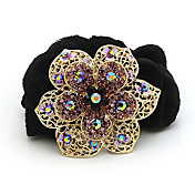 Gorgeous Flannelette With Rhinestones Flower Ponytail Holder