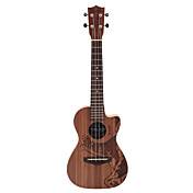 Rainie - (TCO-01) high-grand massief acacia koa tenor ukulele met gigbag / tuner (oceaan tatoeage)