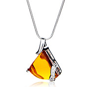 Gorgeous Fashion Jewelry Triangle Imitation Gems Silver Plate Necklace