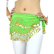 dancewear chiffon met 128 koperen munten belly dance hip sjaal voor dames meer kleuren