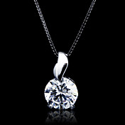 Fine Jewelry Simply Leaf With Big Zircon Sterling Silver Necklace