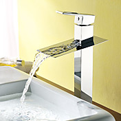 Solid Brass Contemporary Waterfall Single Handle Bathroom Sink Faucet Chrome Finish
