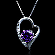 Fine Jewelry Elegant Amethyst In Zircon Heart Sterling Silver Necklace