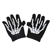 Sporty Full-Finger Skeleton Pattern Gloves (White/Green)
