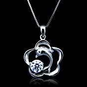 Fine Jewelry Lovely Zircon Dolphins Sterling Silver Necklace
