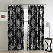 (Two Panels) Traditional Floral Polyester Lined Curtains