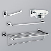 4-Pieces Modern Bathroom Hardware Accessory Set Chrome Finish