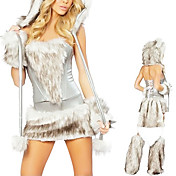 Cute Fur Cat Women Halloween Costume (5 Pieces)