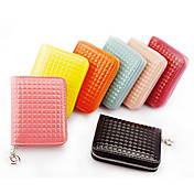 Lady's Leather Check Zipper Wallet