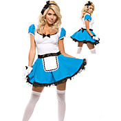 Fancy Blue Maid Dress Halloween Costume(2 Pieces)