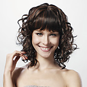 capless mittlerer curly schwarz 100% Echthaar Percke voller bang
