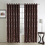 (Two Panels) Traditional Golden Print Floral Polyester Blackout Curtains