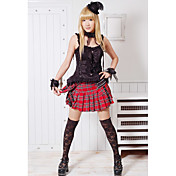 Gothic Tartan Button skjrt Lolita Costume (1 stk)