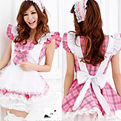 Cute Girl Pink ternet mønster White Apron Polyester Maid Suit