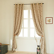 (Two Panels) Luxury Country Floral Linen Lined Curtains