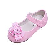 Couro liso Kids 'Flats salto com flor / strass partido / Evening Shoes