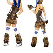 Sexy Brown Fur Elephant Halloween Costume(4 Pieces)