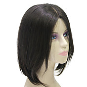 Lace Front Short Black Silky Straight 100% Human Hair Wig
