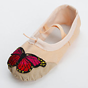 Elegant Handmade Canvas With Butterfly Dance Shoes Split-sole Ballet Slipper For Kids