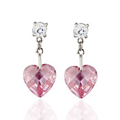 Charming Alloy Heart Design Crystal Stud Earrings