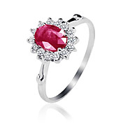 Sjarmerende 925 Sterling Silver Natural Ruby Ring (0.9carat) (5 * 7mm)