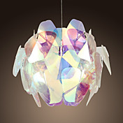 40W Glass Artistic Pendent Light with Fabric Shade