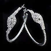 Charming Alloy Round Crystal Hoop Earrings