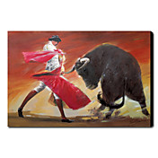 Hand Painted Oliemaleri Animal Bullfight 1211-AN0055