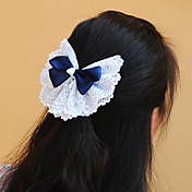 Handmade White and Blue Satin and Lace 13cm Bow Country Lolita Headdress