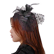 Polka Dot Lace And Feather Gothic Lolita Headwear