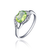 925 Sterling Sølv Natural Peridot Ring (1.4carat) (6 * 8mm)